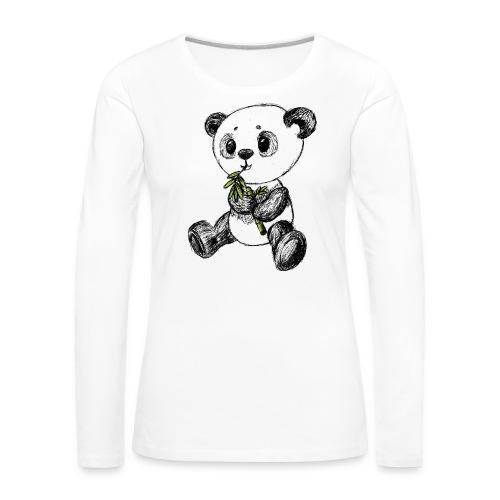 Panda bjørn farvet scribblesirii - Dame premium T-shirt med lange ærmer