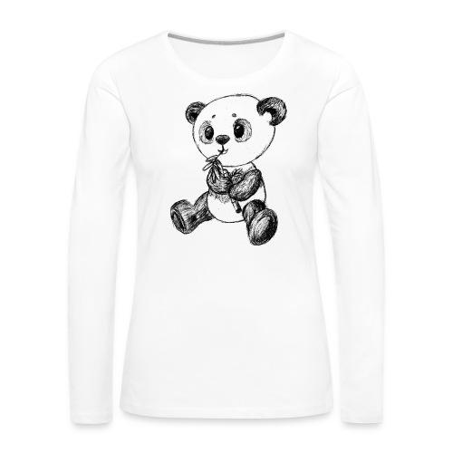 Panda Karhu musta scribblesirii - Naisten premium pitkähihainen t-paita