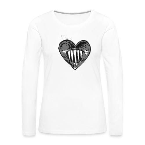 Corazón Negro - Camiseta de manga larga premium mujer