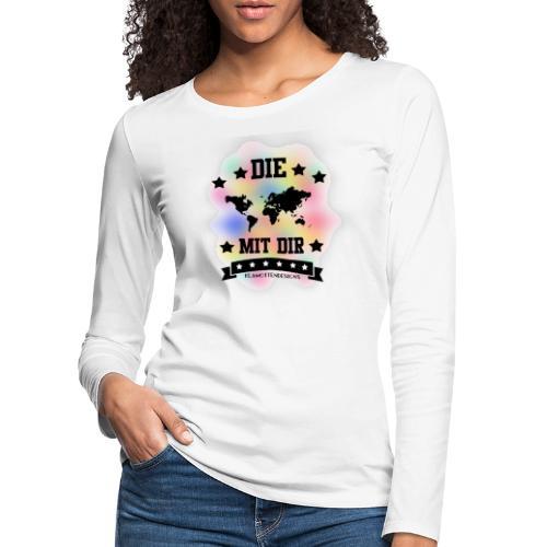 Die Welt mit dir bunt weiss - Klamottendesigns - Frauen Premium Langarmshirt