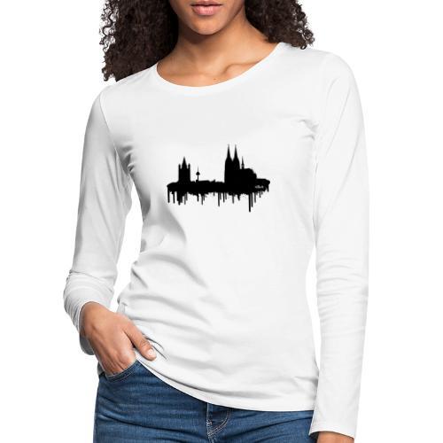 Skyline Köln - Schwarz - Frauen Premium Langarmshirt