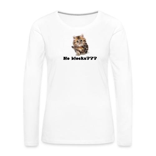 No block kitten - Premium langermet T-skjorte for kvinner