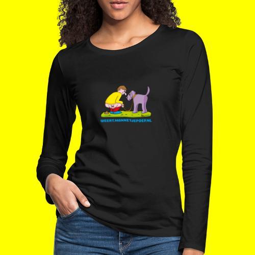 Mannetje Poep Illustratie - Vrouwen Premium shirt met lange mouwen