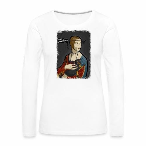 Lady with dachshund - Koszulka damska Premium z długim rękawem