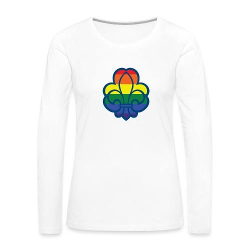 Regnbuespejder hvide t-shirts - Dame premium T-shirt med lange ærmer