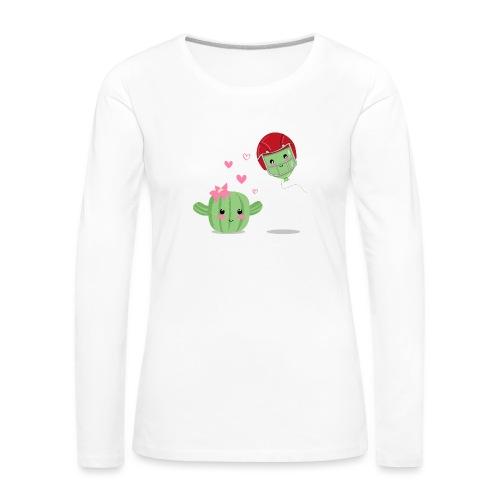 Cactus y Globo, amor - Camiseta de manga larga premium mujer