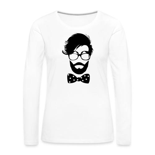 hipster_med_briller_og_butterfly - Dame premium T-shirt med lange ærmer