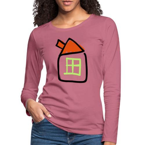 House Line Drawing Pixellamb - Frauen Premium Langarmshirt