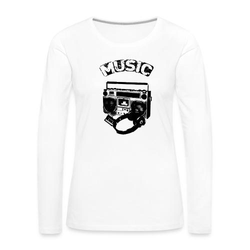 musik1 - Dame premium T-shirt med lange ærmer