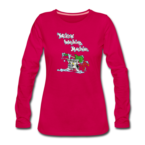 Wicked Washing Machine Cartoon and Logo - Vrouwen Premium shirt met lange mouwen