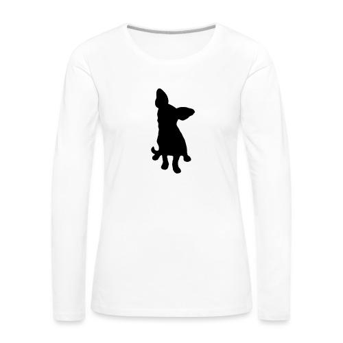 Chihuahua istuva musta - Naisten premium pitkähihainen t-paita