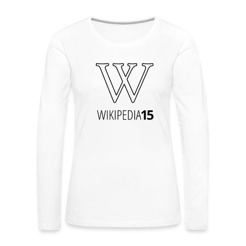 W, rak, vit - Långärmad premium-T-shirt dam