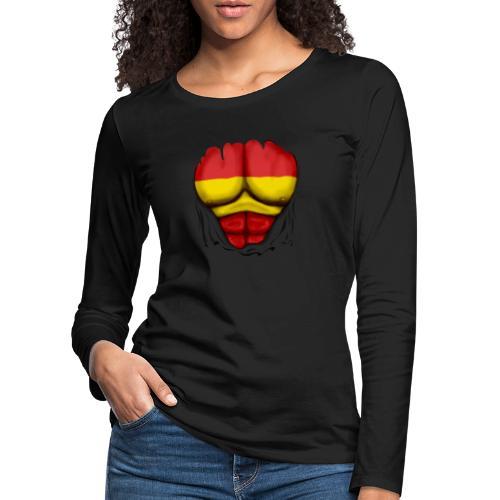España Flag Ripped Muscles six pack chest t-shirt - Women's Premium Longsleeve Shirt