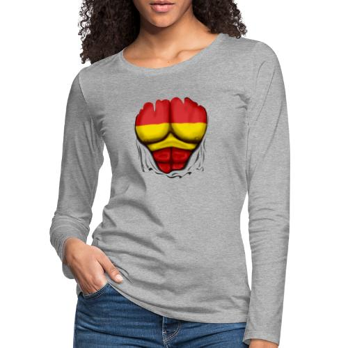 España Flag Ripped Muscles six pack chest t-shirt - Women's Premium Longsleeve Shirt