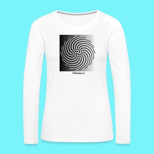 Fibonacci spiral pattern in black and white - Women's Premium Longsleeve Shirt