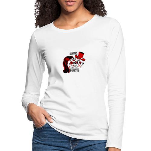 skelet paar, sugar skull - Vrouwen Premium shirt met lange mouwen