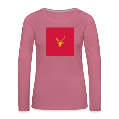 scimmiacervo sfondo rosso - Maglietta Premium a manica lunga da donna