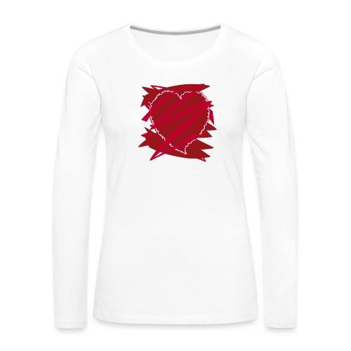 corazón enamorado, corazón roto - Camiseta de manga larga premium mujer