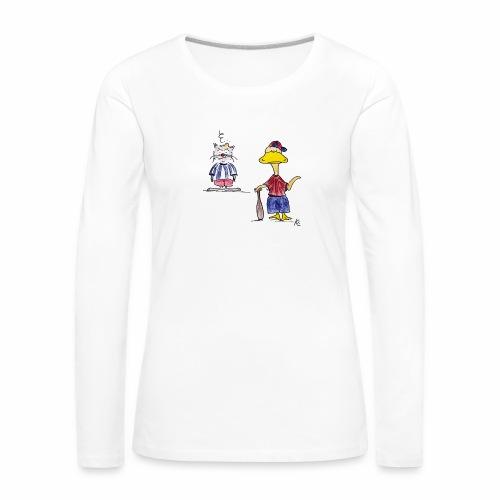 Cartoon Baseball - Frauen Premium Langarmshirt
