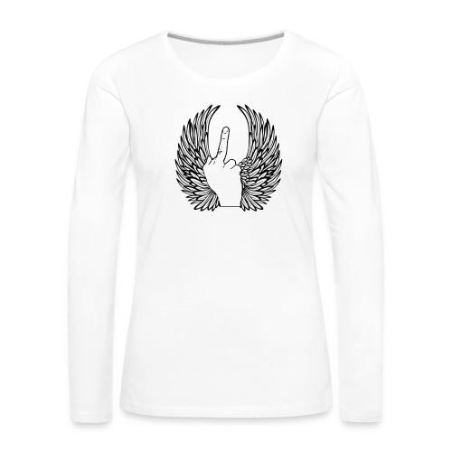 middle finger with wings - Vrouwen Premium shirt met lange mouwen