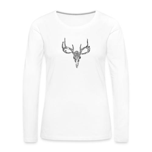 Deer skull with rose - Naisten premium pitkähihainen t-paita