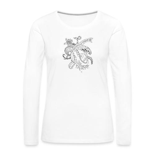 Fantasia musta scribblesirii - Naisten premium pitkähihainen t-paita