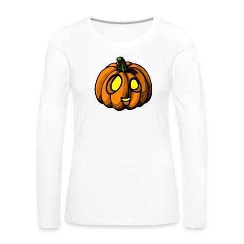 Pumpkin Halloween scribblesirii - Dame premium T-shirt med lange ærmer