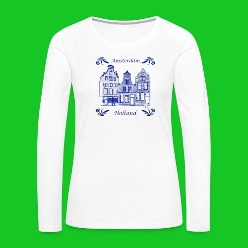 Holland Grachtenpanden Delfts Blauw - Vrouwen Premium shirt met lange mouwen