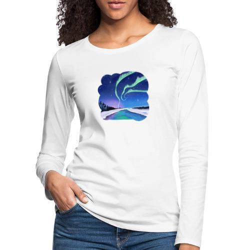 Réflexion des aurores boréales - T-shirt manches longues Premium Femme