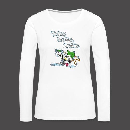 Wicked Washing Machine Cartoon and Logo - Vrouwen Premium shirt met lange mouwen