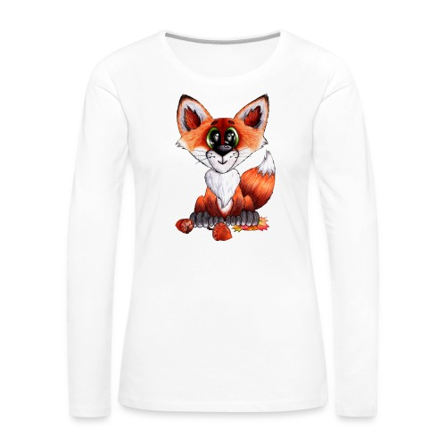 llwynogyn - a little red fox - Dame premium T-shirt med lange ærmer