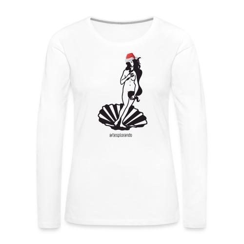 Venere di Botticelli natalizia - Maglietta Premium a manica lunga da donna