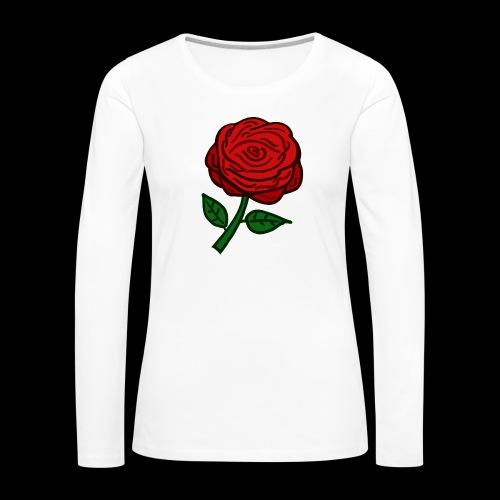 Rote Rose - Frauen Premium Langarmshirt