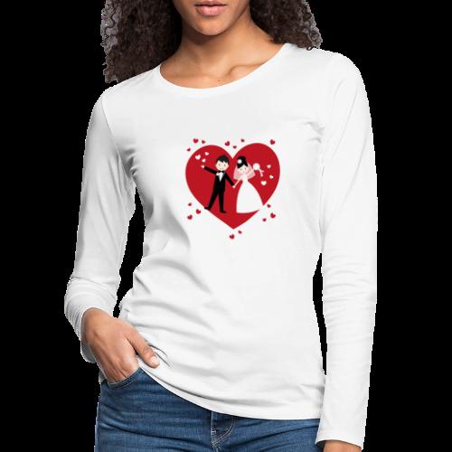 Hochzeitspaar mit vielen Herzen - Rot - Frauen Premium Langarmshirt