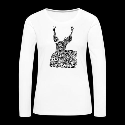 deer black and white - Naisten premium pitkähihainen t-paita