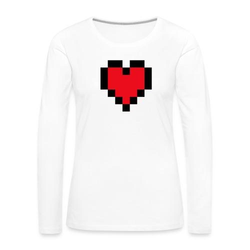 Pixel Heart - Vrouwen Premium shirt met lange mouwen