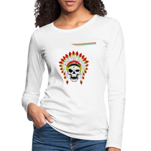 calavera o craneo con penacho de plumas vampiresco - Camiseta de manga larga premium mujer