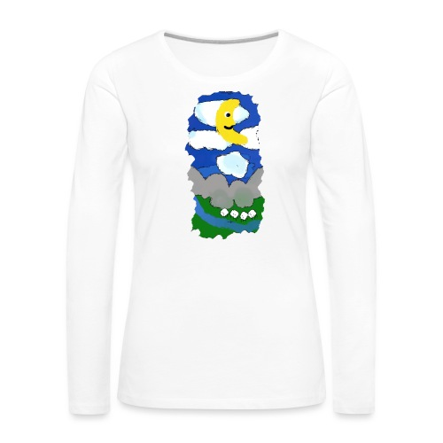 smiling moon and funny sheep - Women's Premium Longsleeve Shirt