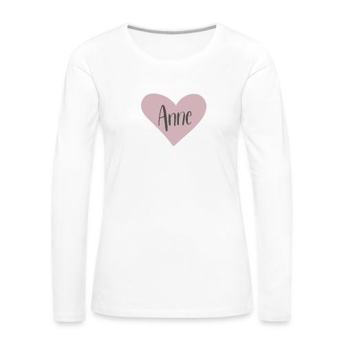 Anne - hjärta - Långärmad premium-T-shirt dam