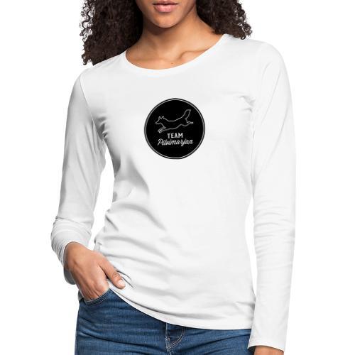 pilvimarjanlogomustaa - Naisten premium pitkähihainen t-paita