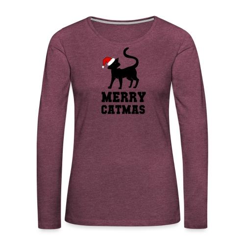 Merry Catmas - Silhouette - Frauen Premium Langarmshirt