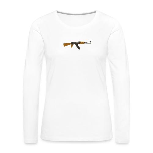 fire-cartoon-gun-bullet-arms-weapon-drawings-png - Vrouwen Premium shirt met lange mouwen