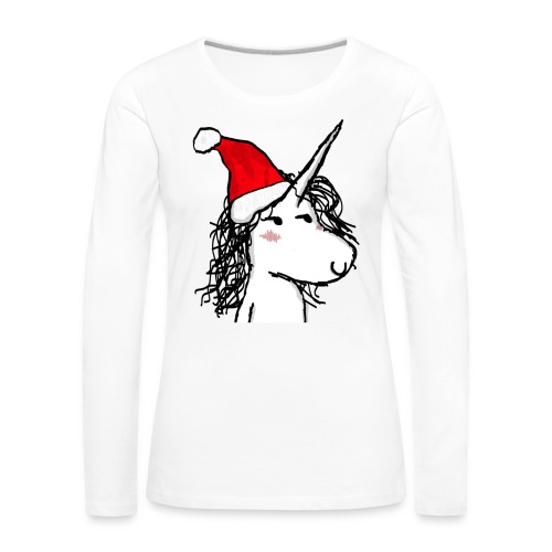 unicorno Natale - Maglietta Premium a manica lunga da donna