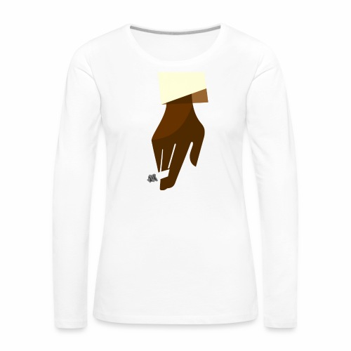 Hand mit Kippe - Frauen Premium Langarmshirt