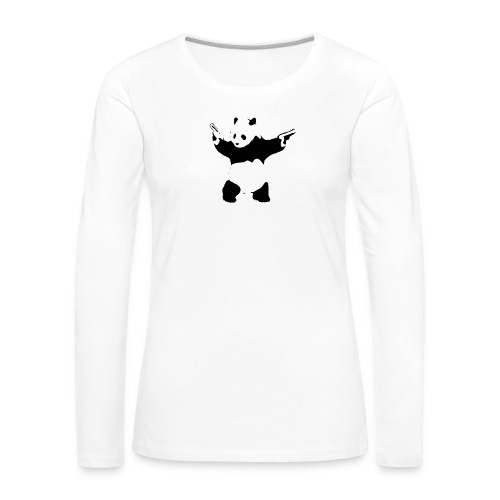 oso panda pistolas - Camiseta de manga larga premium mujer