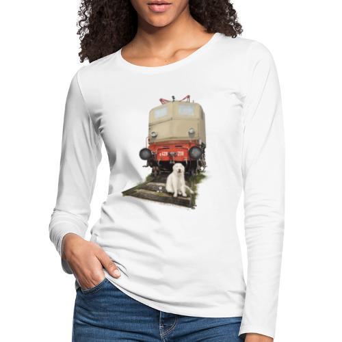 Golden Retriever with Train - Maglietta Premium a manica lunga da donna