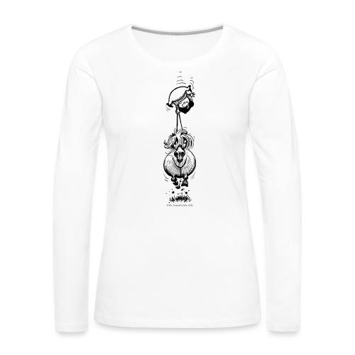 PonyUpsideDown Thelwell Cartoon - Women's Premium Longsleeve Shirt