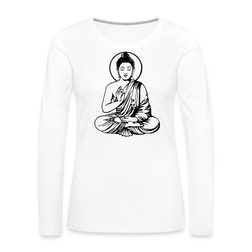 Buddha-Vektor-Outline - Frauen Premium Langarmshirt