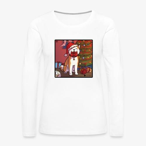 Akita natalizio 1 copia png - Maglietta Premium a manica lunga da donna