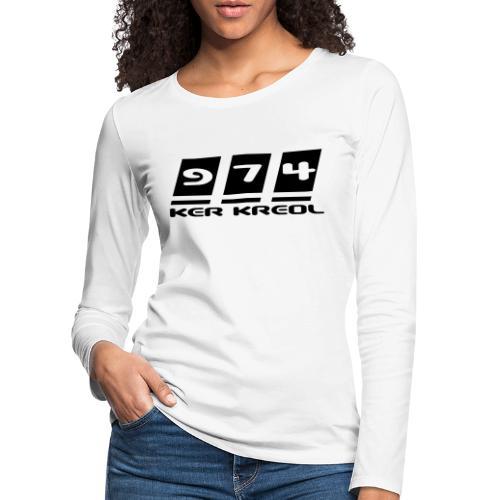 Logo écriture 974 Ker Kreol - T-shirt manches longues Premium Femme